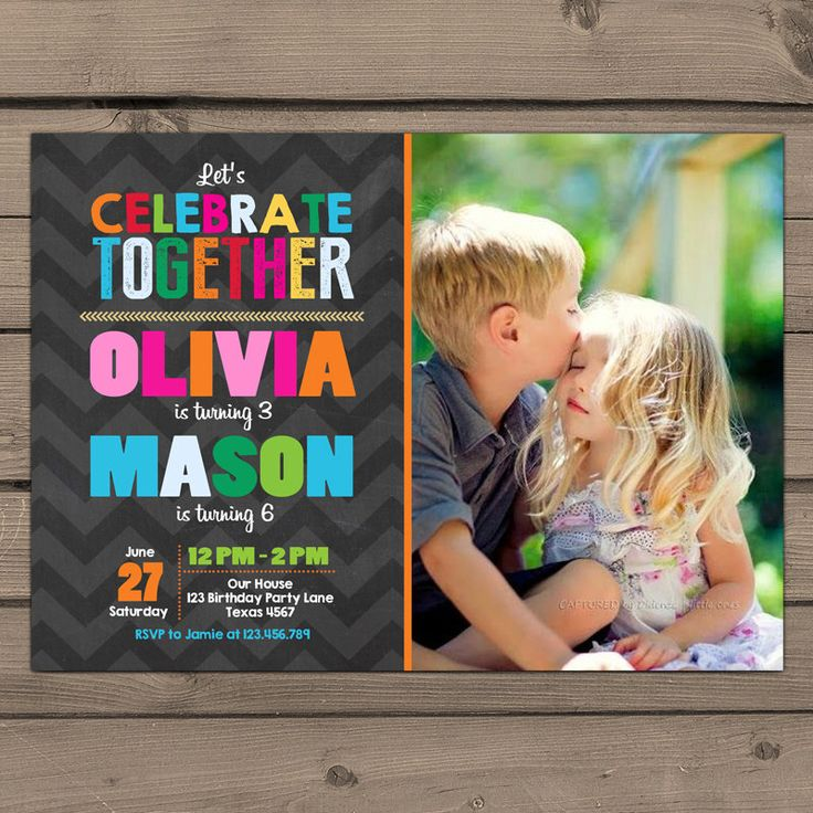 Joint birthday invitation Joint Birthday Party InvitationTwins Birthday Invite Twin birthday party Dual birthday Digital printable ANY AGE