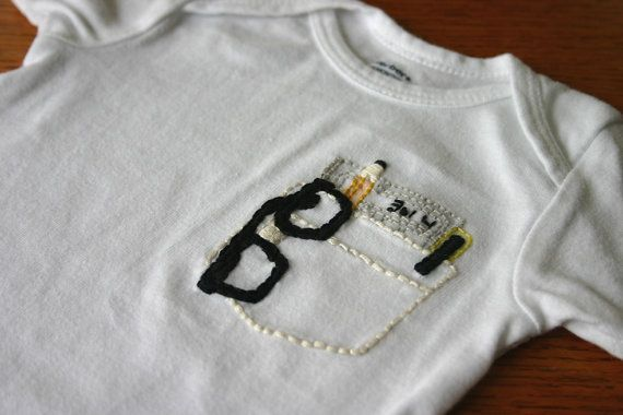 Pocket Protector Hand Embroidered Onesie by semiAffection on Etsy, $16.00