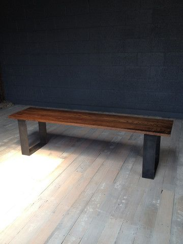 Industrial oak bench seat