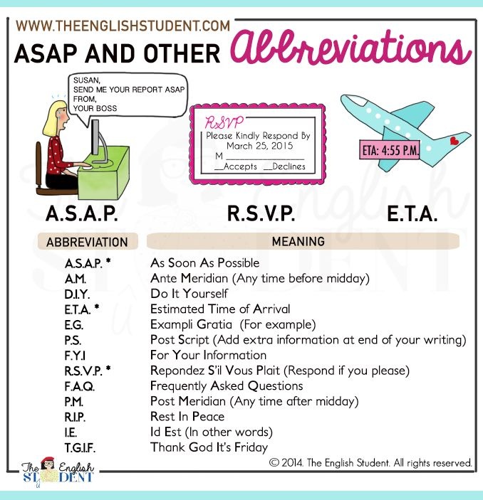 Some useful abbreviations to learn ASAP! #ESL #English #teaching See more @ www.theenglishstudent.com: