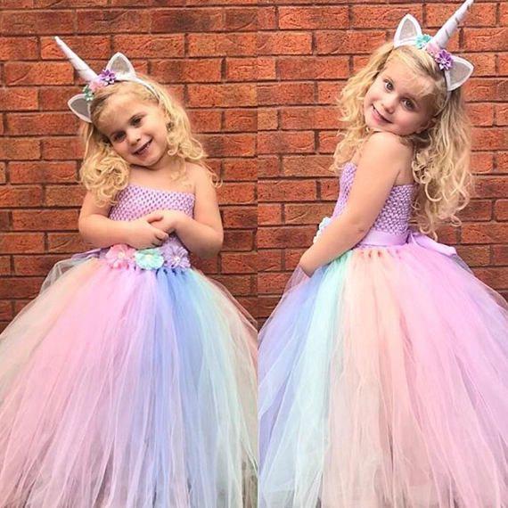 Birthday Unicorn Dress Layers Tutu Fancy Costume Flower Girls Dresses for Party