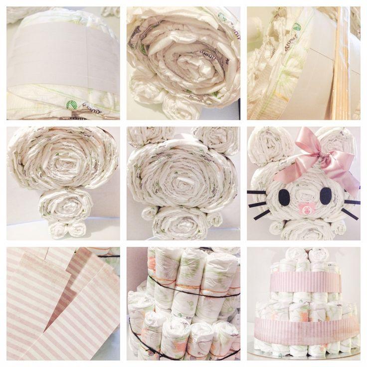 Hello Kitty DIY diaper cake - bleiekake