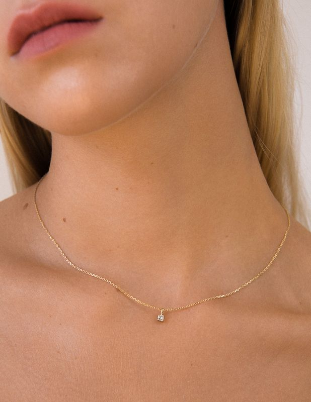 Solitaire Diamond Necklace – Yellow Gold