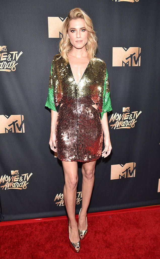 Allison Williams from MTV Movie & TV Awards 2017: Red Carpet Arrivals  Va va voom! The Get Out star commands the carpet in a sequined mini-dress.