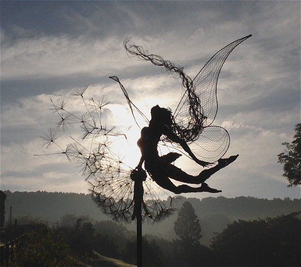 "Artist: Robin Wight ""Every fairy is a handmade sculpture uniquely crafted to your desired pose and installation requirements."""