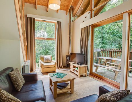 Golden Oak accommodation at Deerpark #Cornwall With log burning stove, private #HotTub, and lots of space to relax!  Self Catered Accommodation in Deerpark, Cornwall - Forest Holidays #ForestRetreat #UKgetaway