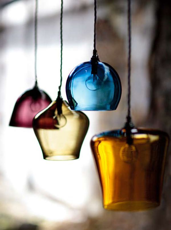Suspension lustre en verre coloré bleu jaune fushia, Lamps, Lampadari