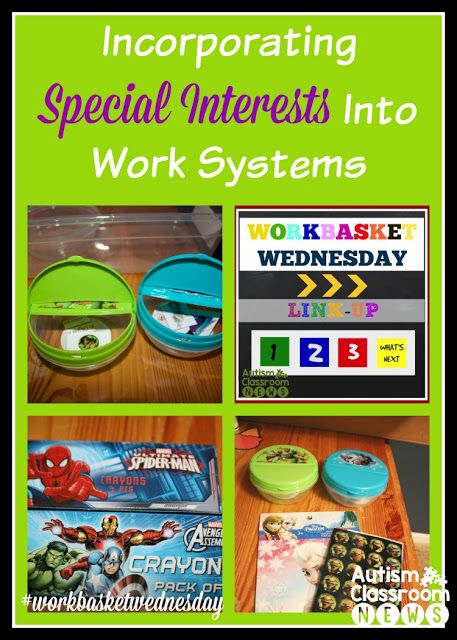 One way to make structured work systems (TEACCH) more engaging for students with autism or students in special ed. is to build in special interests like Disney characters, action heroes, etc. into  the tasks themselves.  Check out these examples.