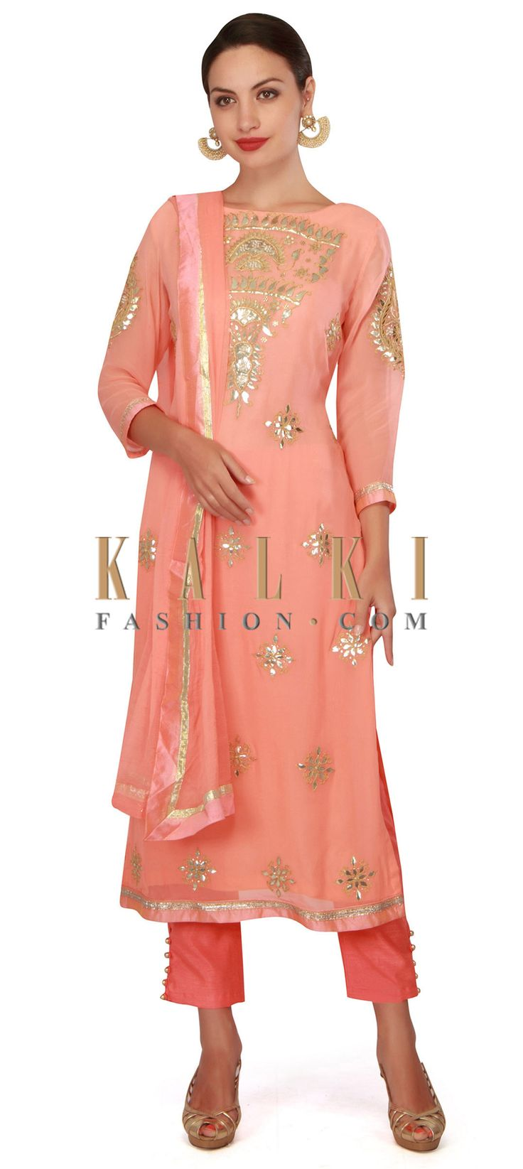 Buy now Pink straight suit adorn in gotta patch embroidery only on Kalki