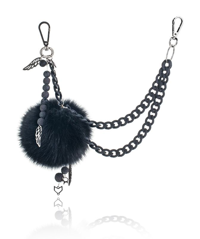 Pompon Bag Charm with 12cm black real fox fur,double metal ring and clip, volcanic beads, metal chain and metal decorative elements.  Price: 84.00E