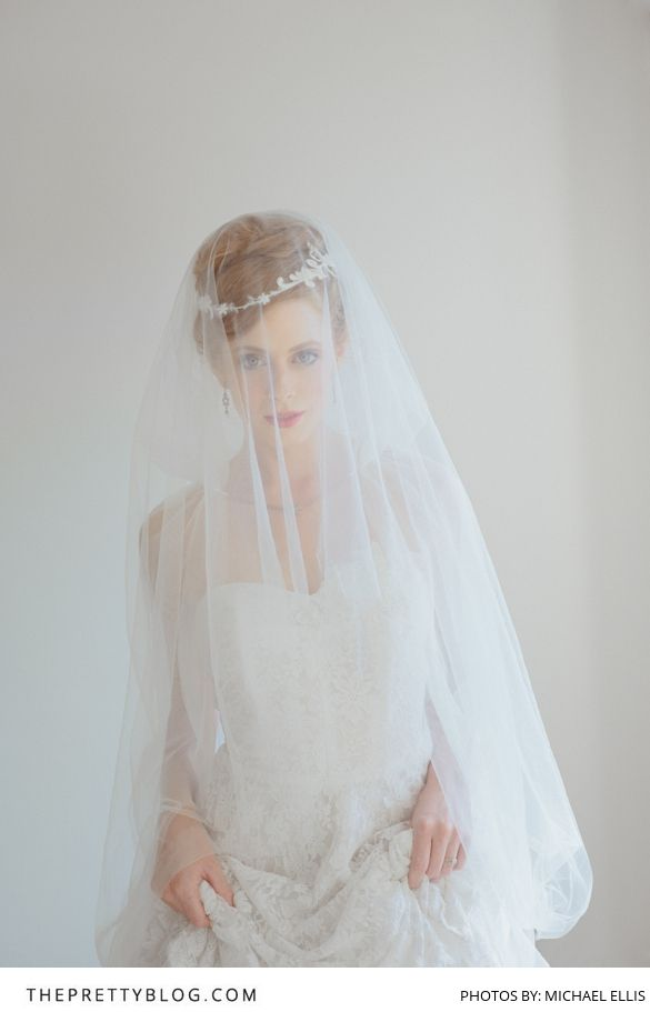 WOW! Say it best with a soft, classic veil!   Photographer: Michael Ellis   Model: Kim Rose   Accessories: Bella Chiara