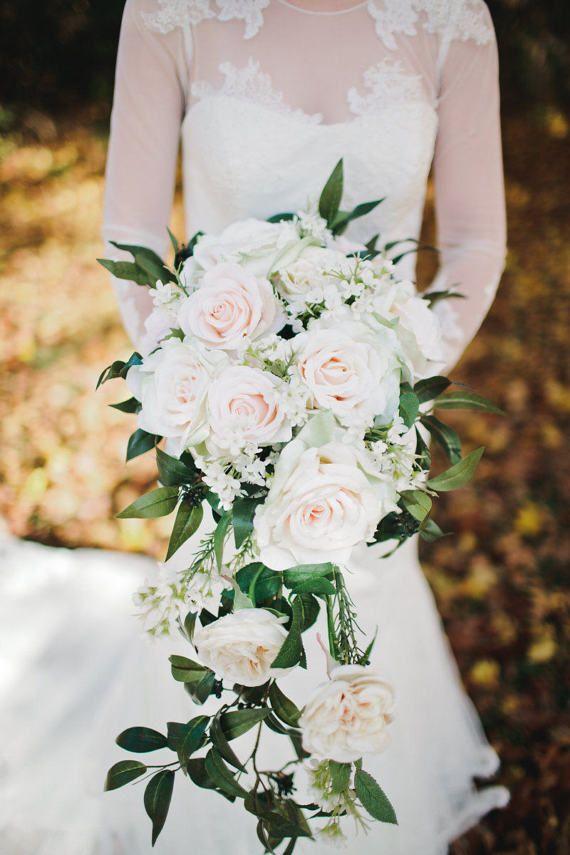 Cascade Wedding Bouquet Blush Rose Apricot by Hollysflowershoppe