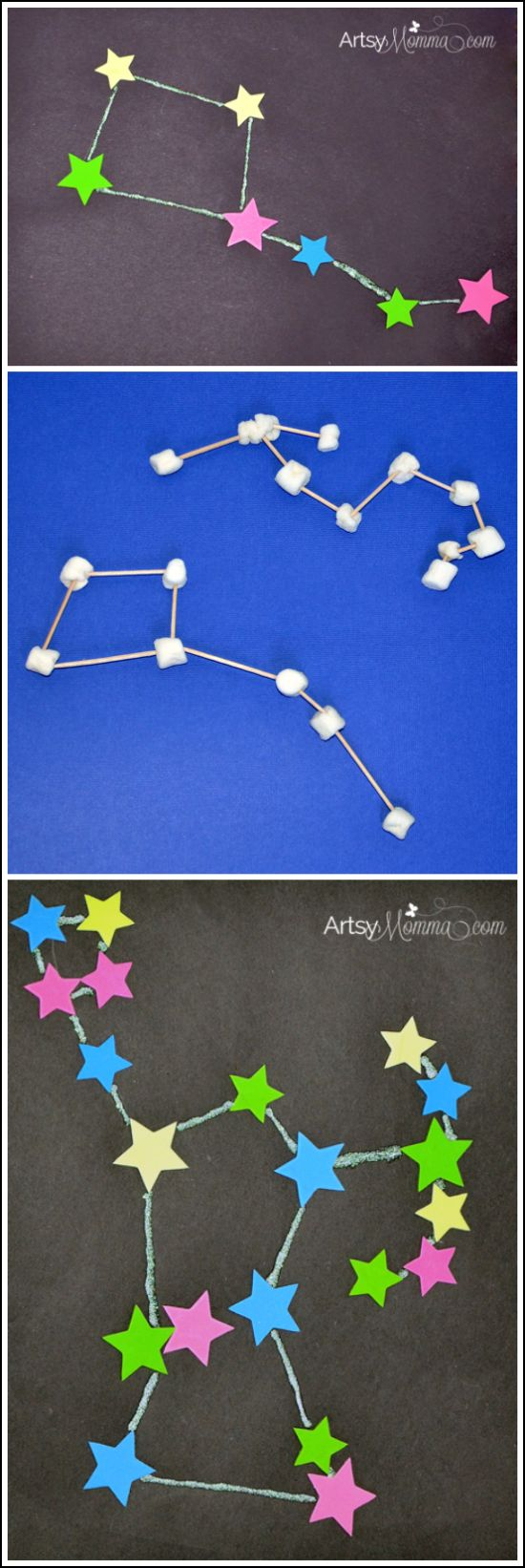 Learn about space by mapping out constellations with foam stars or marshmallows #STEM