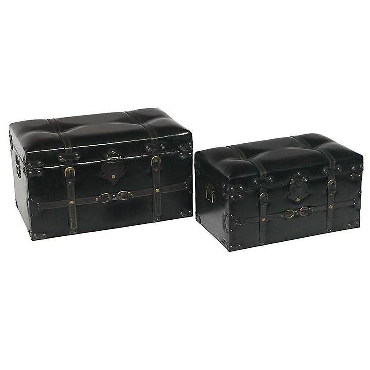 S/2 TRUNK PU IN BLACK COLOR 68X41X40 - Chests - FURNITURE