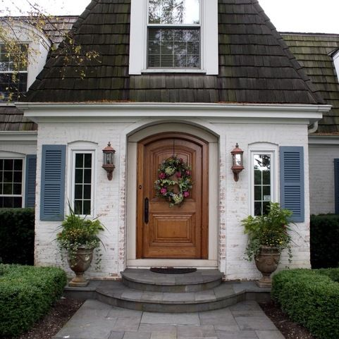 Acadian House Facade Doors With Shutters Design Ideas