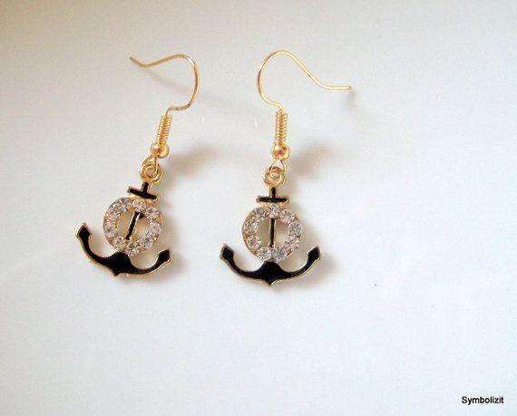 Anchor Earring, Black Anchor charm, Sailing Gift, Nautical Earring, Gold Anchor, Nautical Jewelry, Boat Earring, Anchor Gift, Anchor Pendant