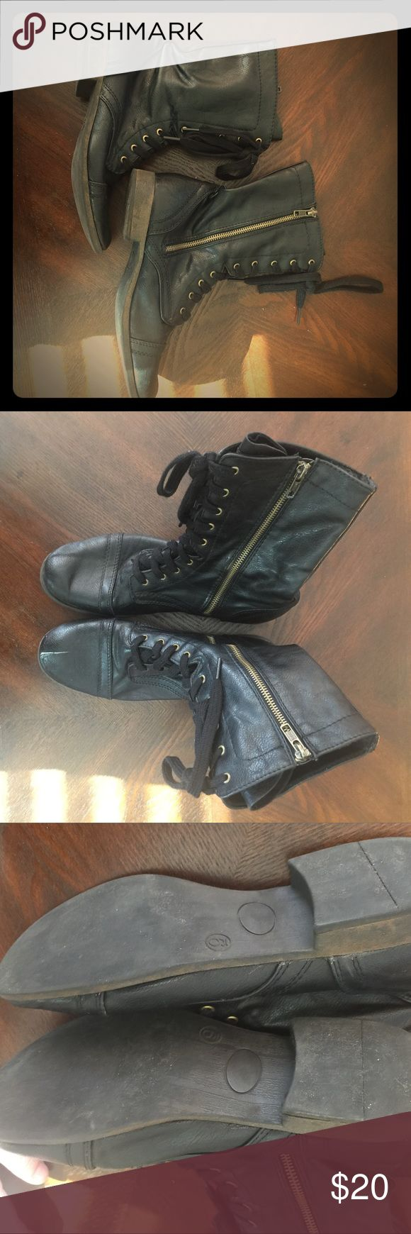Ladies Black Lace and Zip Combat Boots These boots from Target are so stylish! Lace up fronts and side zips give you options on how to fasten! Super cute and lots of ways to dress them up. Target Shoes Combat & Moto Boots