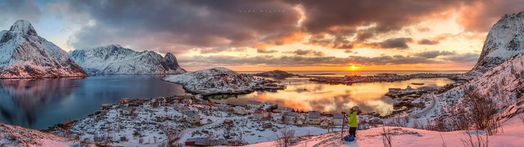 Lofoten - A beautiful way to start the day in Lofoten Norway.  This is one of my largest multi row panos consisting of 25 frames.  Shot at 50mm with Sigma 24-105 art lens.