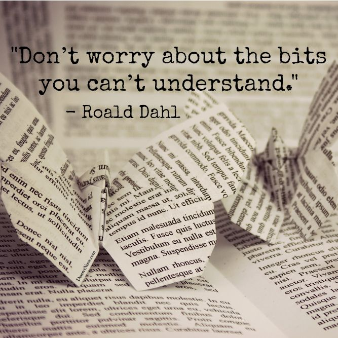 """""""Don't worry about the bits you can't understand."""" 