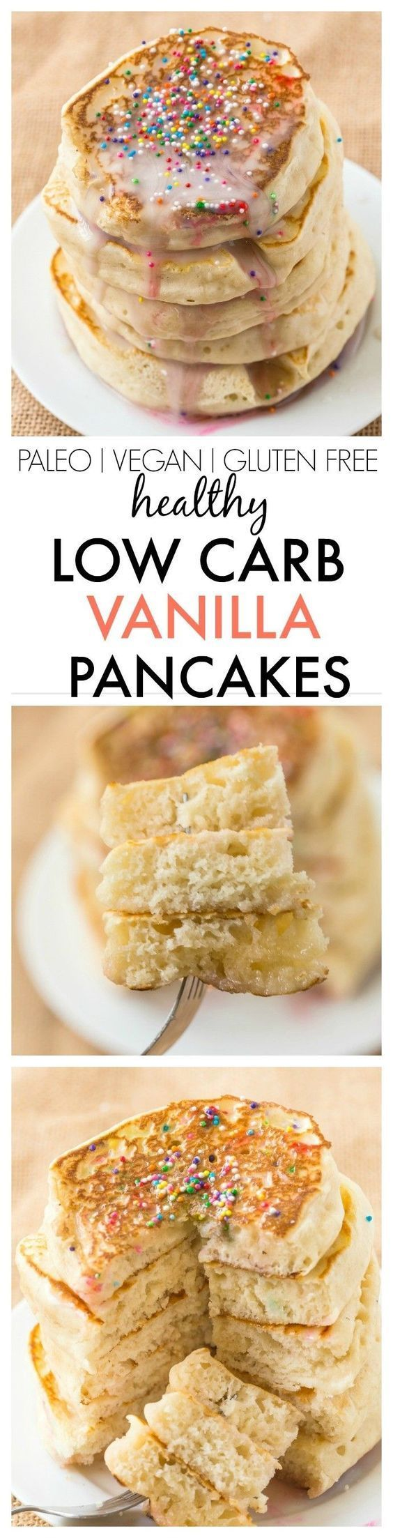 Healthy Thick and Fluffy Low Carb Pancakes which are SO easy, delicious and low in calories but you wouldn't tell- The best low carb pancakes out there! {vegan, gluten free, paleo recipe}- thebigmansworld.com