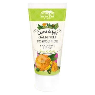 Cremă de față cu extract de gălbenele și fosfolipide - 50 ml - pielea se simte plăcut îmbogățită și devine luminoasă, fermă, netedă și fină fără a fi grasă, iar hidratarea instantă persistă chiar și după spălare.