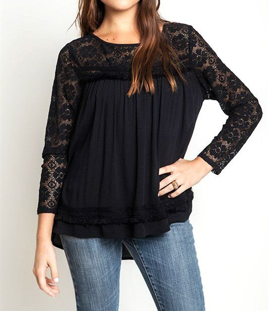 Black Lace Baby Doll Top. Beautiful detail available at miss modern boutique