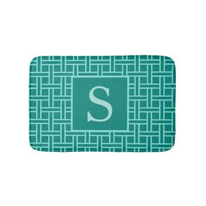 Popular Geometric Pattern Monogram Teal Bathroom Mat - monogram gifts unique custom diy personalize
