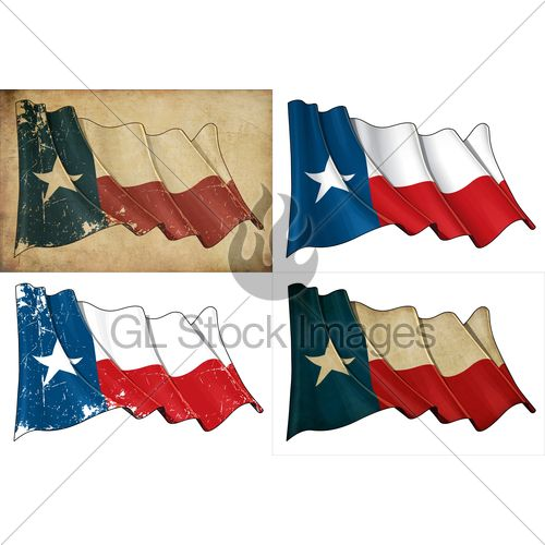 Set Of Illustrations Of A Waving Texan Flag In ...