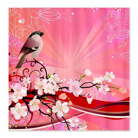 Cherry blossom bird shower curtain from my cafe press store pinte