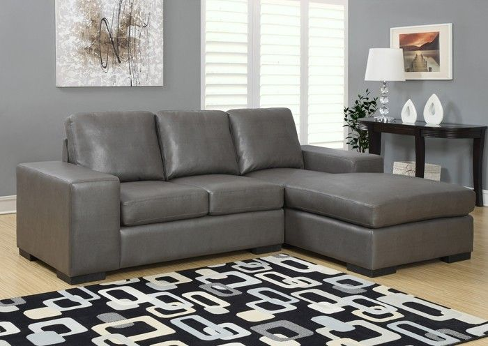 Monarch Specialties Sheffield Leather Sofa Lounger Charcoal Grey I - Charcoal Leather sofa