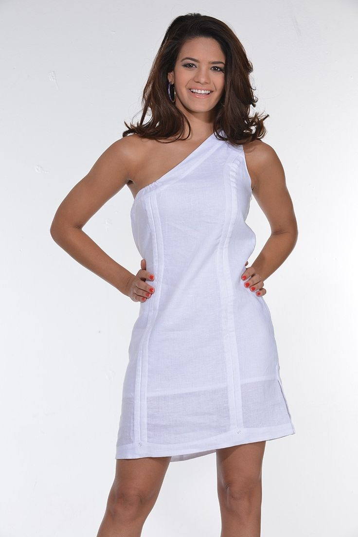 Guayabera Sexy Dress No Sleeve Linen One Shoulder