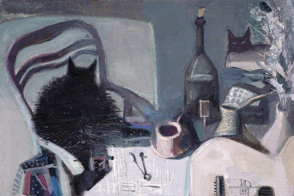 Дмитрий Иконников.  Два кота и чашка кофе. Бумага, гуашь. 60 × 90 см. 1997
