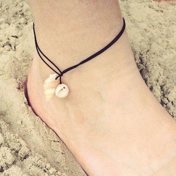 Zwart enkelbandje met schelpen | ibiza style enkelbandje | bohemian enkelbandje