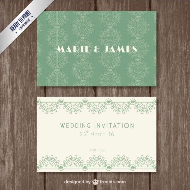 Retro green wedding invitation