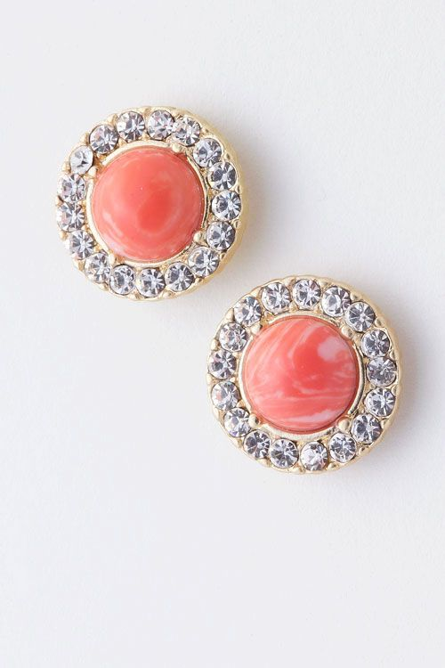 Coral Rachael Earrings on Emma Stine Limited: Clothes, Color, Coral Rachael, Coral Earrings, Jewelry, Rachael Earrings, Coral Studs