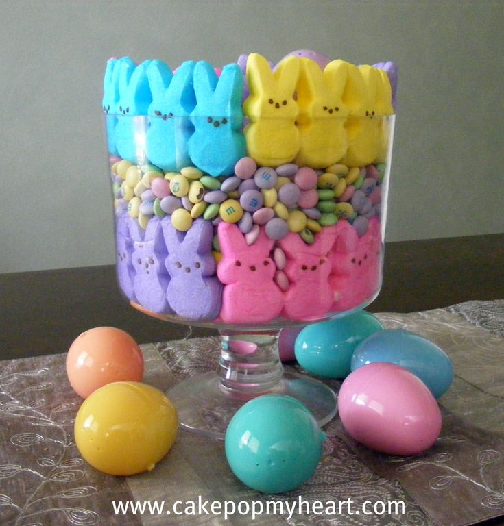 Edible Peeps and M & M's Centerpiece photo only, fun idea!