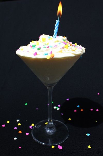 birthday-martini-drink    Ingredients:    2 ounces cream  2 ounces milk  2 ounces vanilla vodka  1 ounce vanilla bean simple syrup  1/2 ounce butterscotch schnapps  Pinch of lemon zest  Pinch of salt  Directions:    In a shaker with ice add all ingredients and shake, shake, shake!  Top with whipped cream and sprinkles!