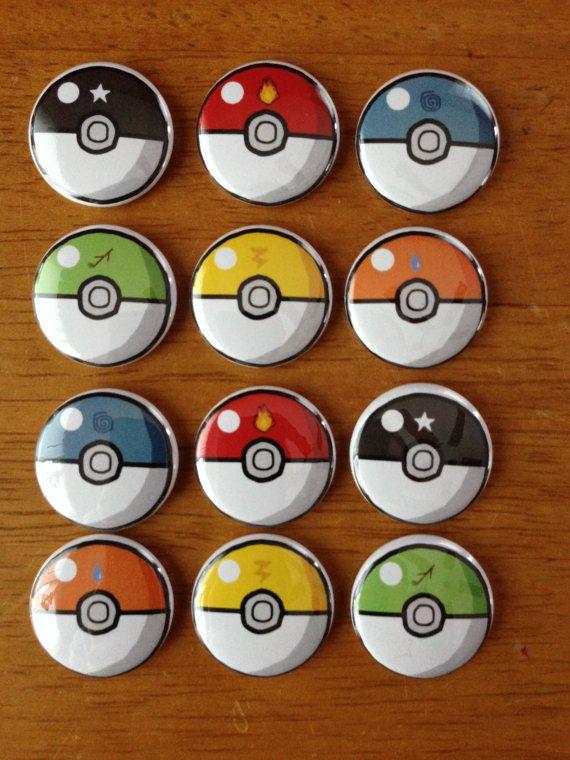 Nintendo Pokemon Butons Pinback Button Set of 12 Pokeball Buttons, Nintendo, Pokemon, Retro Nintendo