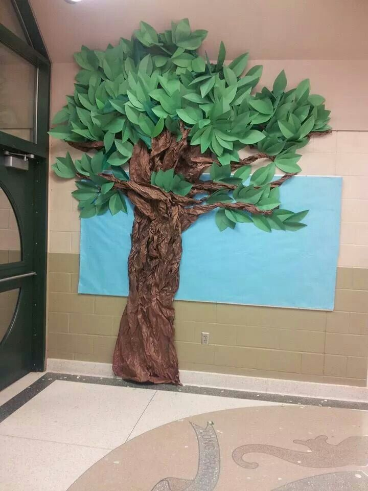 Rainforest Classroom Decoration Ideas ~ Tree i made out of construction paper and brown bulletin