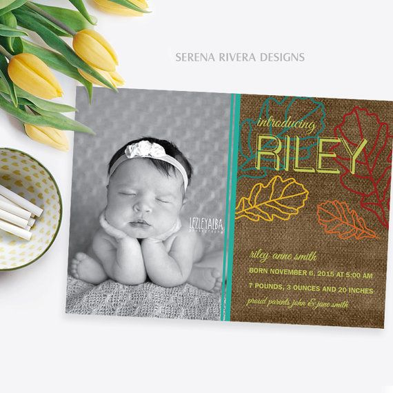 Thanksgiving Baby Girl Birth Announcement, Autumn Baby Announcement, Personalized Birth Announcement, New Baby Gift, 5x7 by SerenaRiveraDesigns