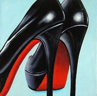 Shoes- 2 Black High Heels Christian Louboutin | Daily realism paintings by Gerard Boersma