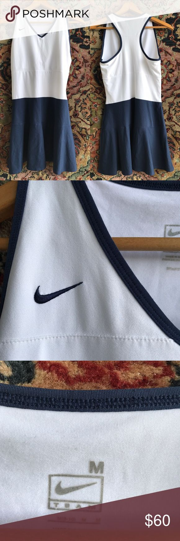 """Nike Racer Back Tennis Dress Crisp and slinky. All the style and performance you expect from Nike. In excellent condition. 15.5"""" underarm to underarm, 14.5"""" waist and 32"""" L Nike Dresses Mini"""