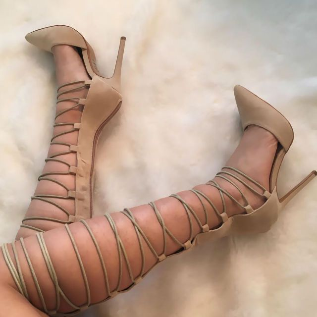 Lace up Knee High Pointed Heels
