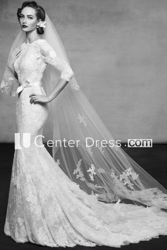 11303a92a81 Floor-Length High Neck 3-4-Sleeve Appliqued Lace Wedding Dress With Court