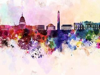 Washington DC skyline in watercolor background