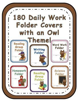 Adorable School Owl Theme! * 180 pages of different work folder covers.Each folder comes in all six characters / colors. Homework Folder,