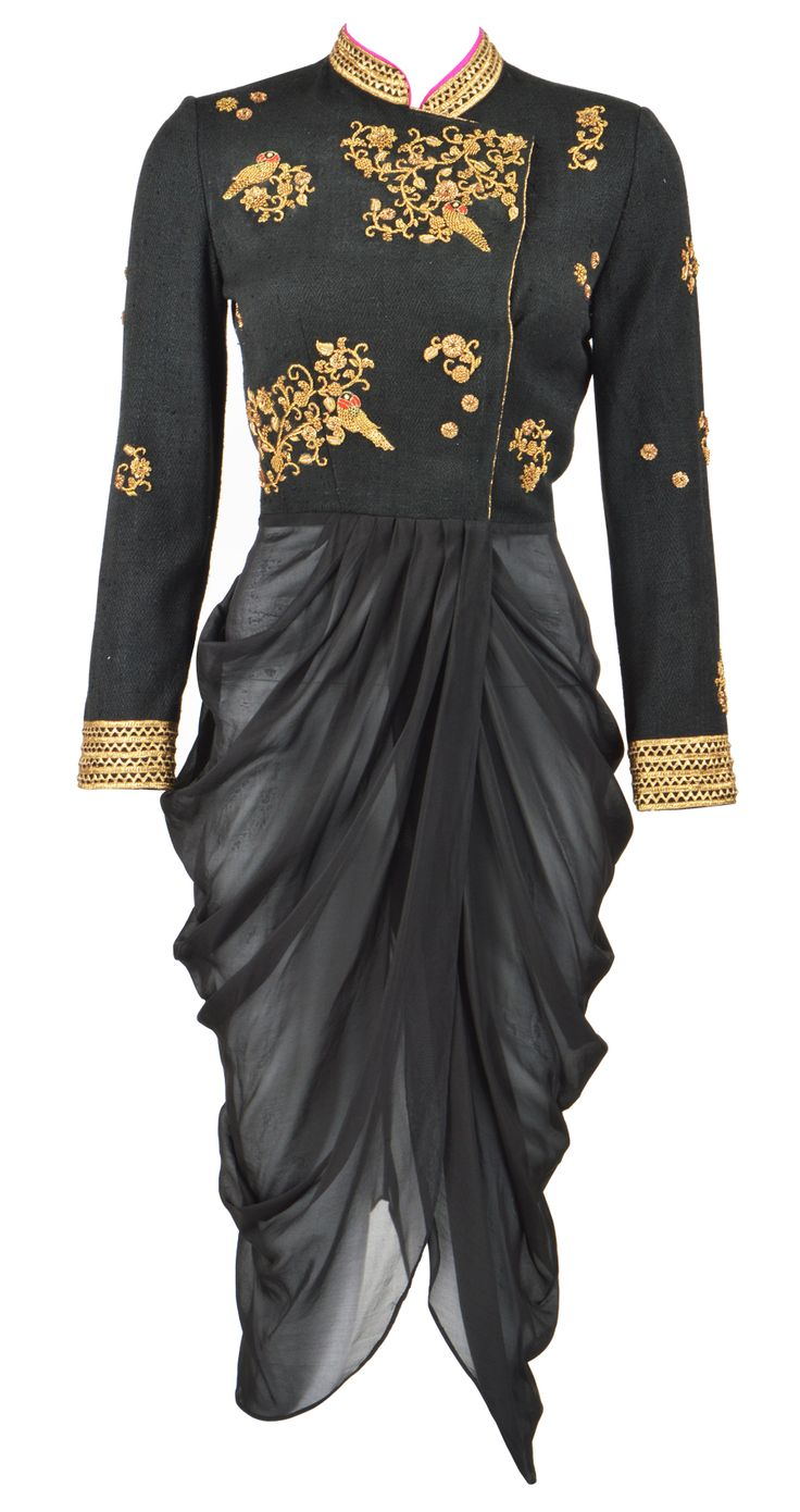 Black embroidered drape by Tisha Saksena