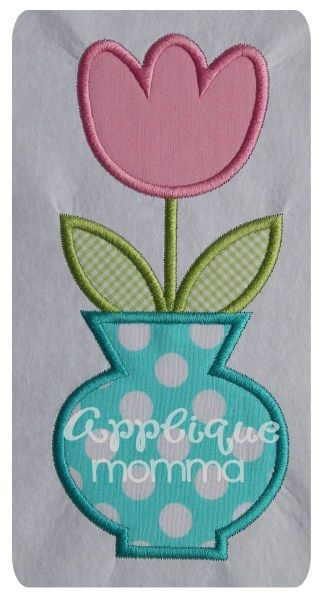 Flower in Pot Applique Design