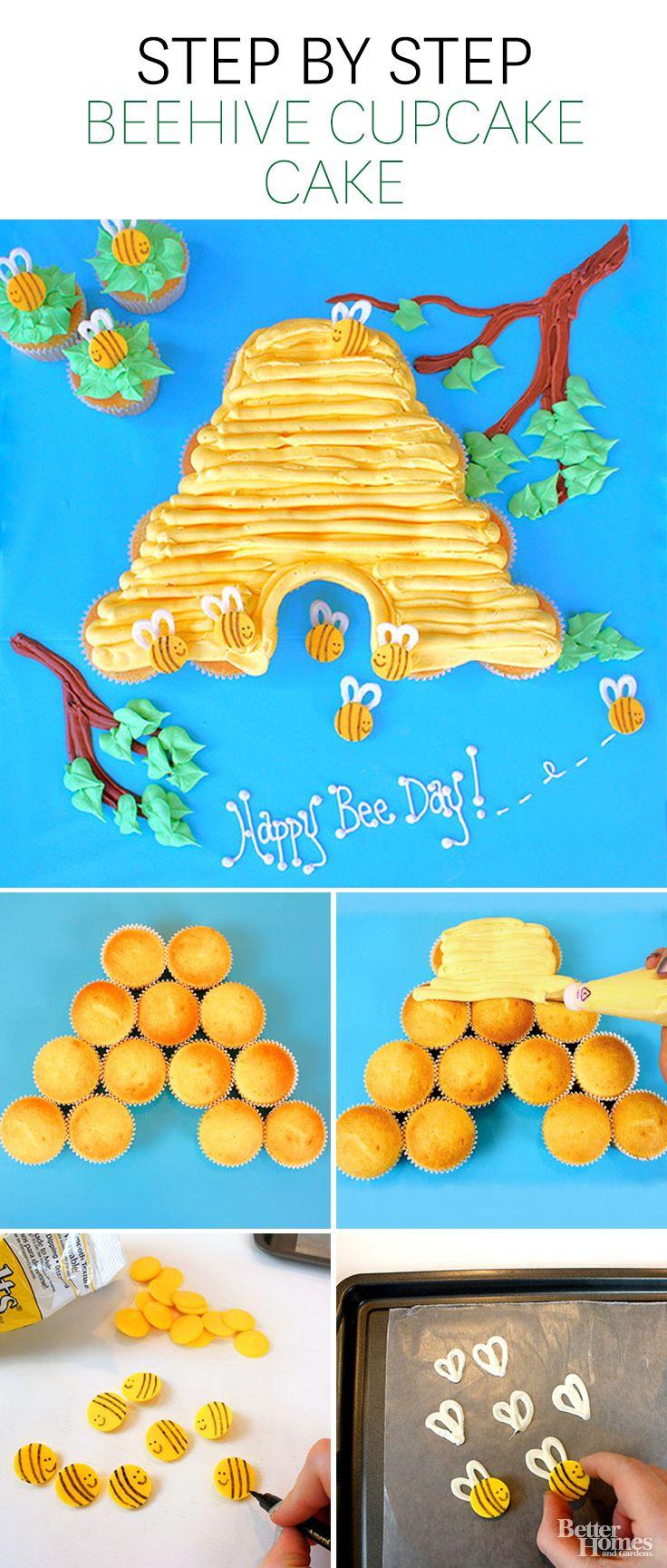 Paso a paso como hacer un panal de abejas con cupcakes. #IdeasCupcakes