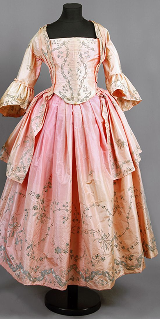 "Wedding dress of silk, 1770, Sweden, with silver embroidery, belonged to ""Aunt Ulla"" Ulrica Christina Cronstedt (1756 - 1841) on Gärdesta. Altered at a later date with machine stitching. Consisting of four pieces, also an apron (not shown) Sörmlands museum"